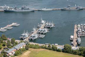 Archivfoto: Marinestützpunkt Kiel mit den Booten des 5. Minensuchgeschwaders. Foto: Deutsche Marine