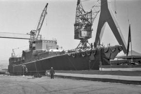 Stapellauf und Taufe der Fregatte Karlsruhe im Januar 1982. Foto: Deutsche Marine