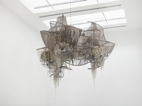 Lee Bul Misremembered Lines, 2011 Crystal, glass and acrylic beads on nickel-chrome wire, stainless-steel and aluminum armature 141 x 180 x 140 cm Courtesy the artist and Galerie Thaddaeus Ropac,