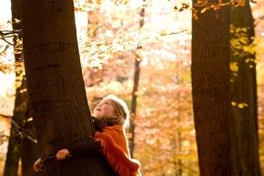 Das Umarmen der Bäume ist eine Geste, die im FriedWald häufig zu sehen ist.