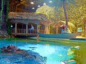 Samoa gehört zu den Ländrn, die schon jetzt vom Klimawandel bedroht sind. Im Klimahaus lernen die Besucher, wie es sich auf der Südseeinsel lebt. Bildnachweis: Meyer/Klimahaus