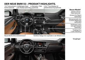 """Der neue BMW X3 - Technische Highlights (06/2017). Weiterer Text über ots und www.presseportal.de/nr/28255 / Die Verwendung dieses Bildes ist für redaktionelle Zwecke honorarfrei. Veröffentlichung bitte unter Quellenangabe: """"obs/BMW Group"""""""