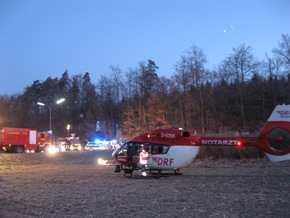 Ankunft des Rettungshubschrauber aus Villingen-Schwenningen an der Einsatzstelle Bild Markus Fritsch Kreisfeuerwehrverband Calw