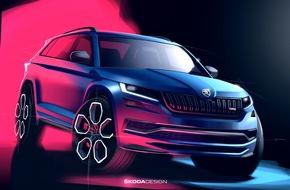 """Der neue SKODA KODIAQ RS trägt als erste SUV das neue rotfarbene RS-Logo. Er verfügt über den mit 176 kW (240 PS) stärksten Seriendiesel in der Geschichte von SKODA. Weiterer Text über ots und www.presseportal.de/nr/28249 / Die Verwendung dieses Bildes ist für redaktionelle Zwecke honorarfrei. Veröffentlichung bitte unter Quellenangabe: """"obs/Skoda Auto Deutschland GmbH"""""""