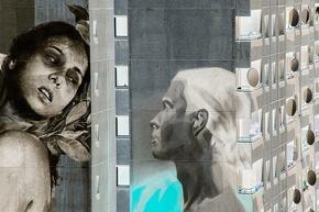 Foto 1 Invertiert - One Wall von Francisco Bosoletti (li.) und Young Jarus in der Wassertorstraße 65, Credits: Nika Kramer