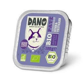"""DANO Getreidefreie Bio Pastete für Katzen mit Huhn & Truthahn, 100 g, UVP je 0,99 Euro. Weiterer Text über ots und www.presseportal.de/nr/131377 / Die Verwendung dieses Bildes ist für redaktionelle Zwecke honorarfrei. Veröffentlichung bitte unter Quellenangabe: """"obs/DANO - YARRAH ORGANIC PETFOOD B.V"""""""