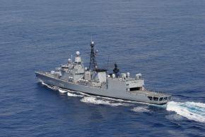 """Foto der Fregatte """"Karlsruhe"""" in Fahrt. Foto: Deutsche Marine"""