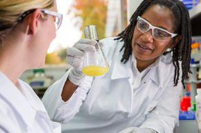 """BASF Weiße Biotechnologie Forschung, Tarrytown, Nordamerika  Laborleiterin Carmen Hendricks-Guy (rechts) und Forschungsassistentin Jessica Stone (links) diskutieren im Forschungszentrum für Weiße Biotechnologie von BASF in Tarrytown, New York, die Wachstumsbedingungen für einen Mikroorganismus, der zur Produktion von Chemikalien genutzt wird.  BASF White Biotechnology Research, Tarrytown, North America  Lab Operations Manager Carmen Hendricks-Guy (right) and Associate Scientist Jessica Stone (left) discuss growth conditions for a chemical producing microorganism at BASF's White Biotechnology research center in Tarrytown, New York. Weiterer Text über OTS und www.presseportal.de/pm/16344 / Die Verwendung dieses Bildes ist für redaktionelle Zwecke honorarfrei. Veröffentlichung bitte unter Quellenangabe: """"obs/BASF SE/Detlef W. Schmalow"""""""