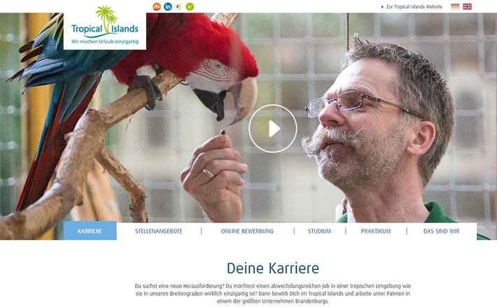 PM: Neues Karriere-Portal von Tropical Islands online