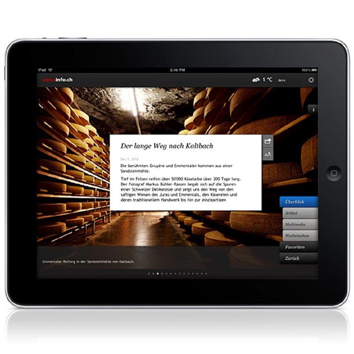 """Die neue swissinfo.ch iPad Applikation, in 9 Sprachen. / Weiterer Text ueber ots und auf https://www.presseportal.ch. Die Verwendung dieses Bildes ist fuer redaktionelle Zwecke honorarfrei. Veröffentlichung unter Quellenangabe: """"obs/ swissinfo"""""""