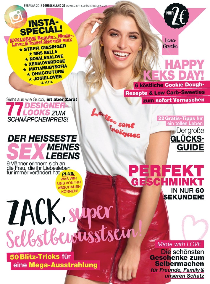 """Cover JOY 2/2018. Weiterer Text über ots und www.presseportal.de/nr/32925 / Die Verwendung dieses Bildes ist für redaktionelle Zwecke honorarfrei. Veröffentlichung bitte unter Quellenangabe: """"obs/Bauer Media Group, JOY/JOY"""""""