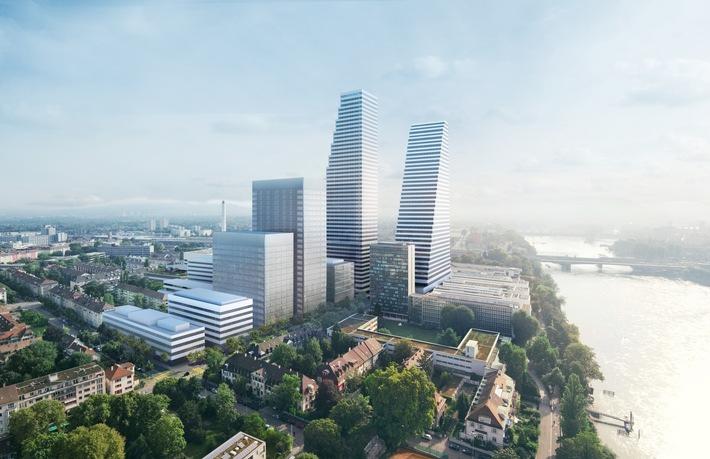 """Haute de 205 m, avec 50 étages, la tour « Bau 2 » sera l'immeuble le plus haut de Suisse. Texte complémentaire par ots et sur www.presseportal.ch/fr/nr/100053189 / L'utilisation de cette image est pour des buts redactionnels gratuite. Publication sous indication de source: """"obs/Debrunner Acifer AG/Herzog&DeMeuron,©Roche LTD"""""""