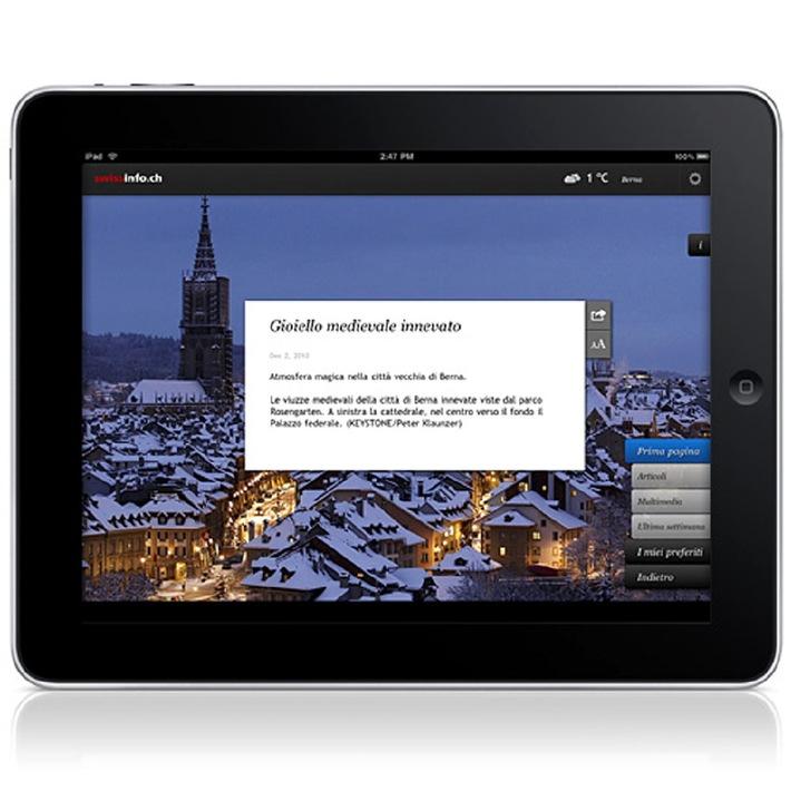 swissinfo.ch lancia un'applicazione iPad in 9 lingue