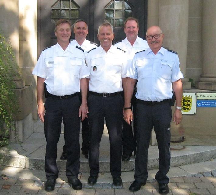 Auf dem Bild von links: EPHK Joachim Feucht, PHK Ralf Grüb, Polizeipräsident Hans Becker, PD Helmut Wacker, PHK Peter Trinkbauer.