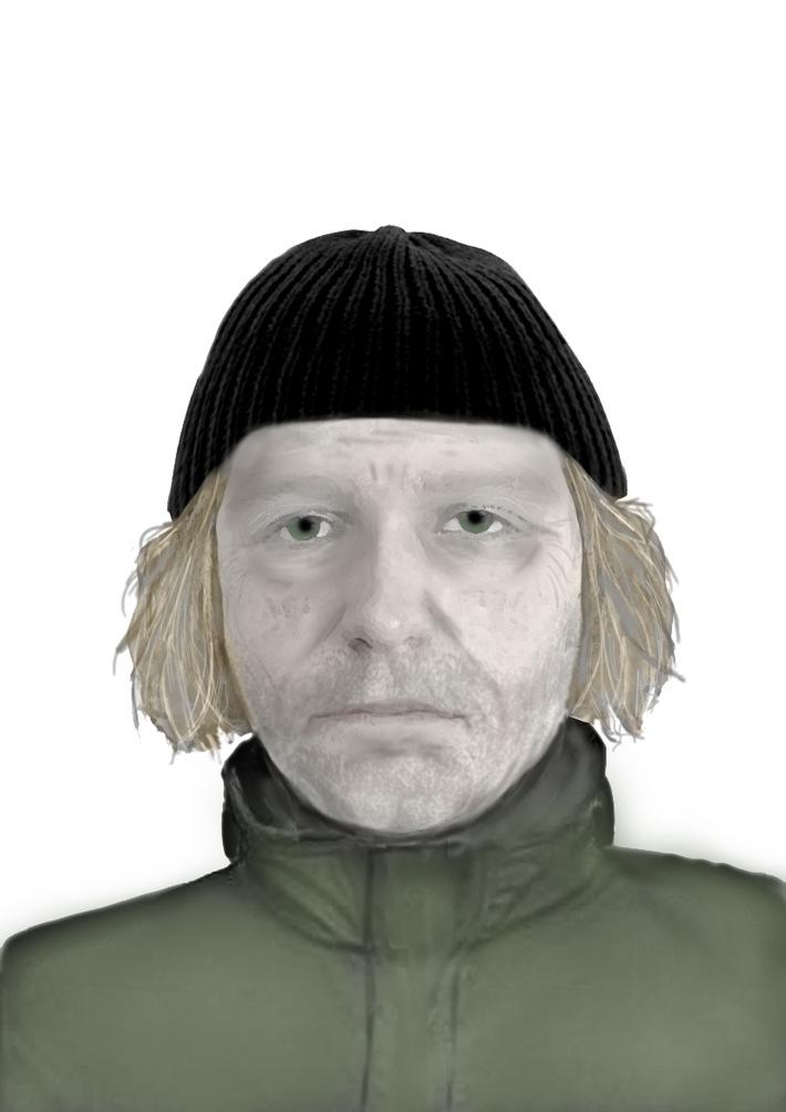 Phantombild des mutmaßlichen Täters. Quellenangabe: Polizeidirektion Flensburg