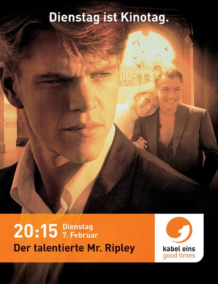 """Dienstag ist Kinotag! kabel eins-Kampagne für """"Der talentierte Mr. Ripley"""". Mit einem der """"besten Filme aller Zeiten."""", mit """"Der talentierte Mr. Ripley"""", lässt kabel eins seine Kampagne """"Dienstag ist Kinotag."""" an den Start gehen. Aufmerksam machen auf Kampagne und Film (am 7.2.06, 20:15 Uhr bei kabel eins) machen zum einen breit gestreute Anzeigen: Ab dem 18.1.06 sind Matt Damon und Jude Law als Eyecatcher des kabel eins-Printmotivs in zahlreichen Zeitschriften und Programmzeitungen zu sehen. Die ergänzende On Air-Kampagne startet ab dem 24.1.06 bei kabel eins und ist auch in der Crosspromotion bei ProSieben, Sat.1 und N24 geschaltet. (Mehr Text erhalten Sie in einer gesonderten Pressemitteilung!) © kabel eins- honorarfrei nur im Zusammenhang mit einem Sendehinweis auf den entsprechenden kabel eins-Film und bei Nennung """"Bild: kabel eins""""."""