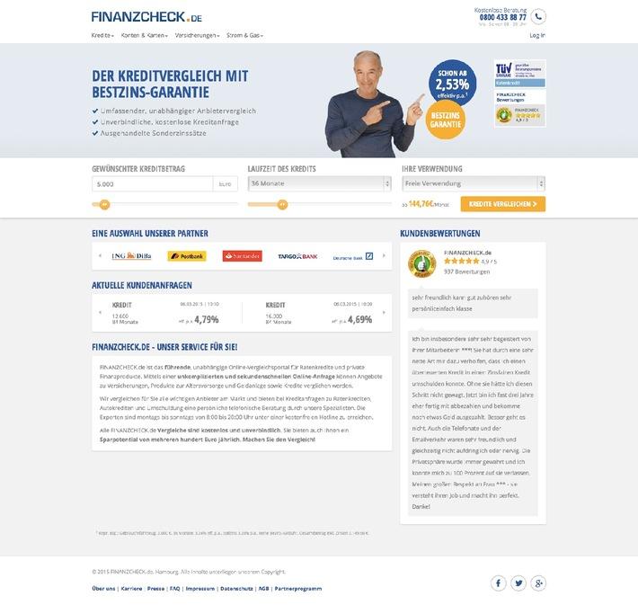 Facelift: FINANZCHECK.de im neuen Design