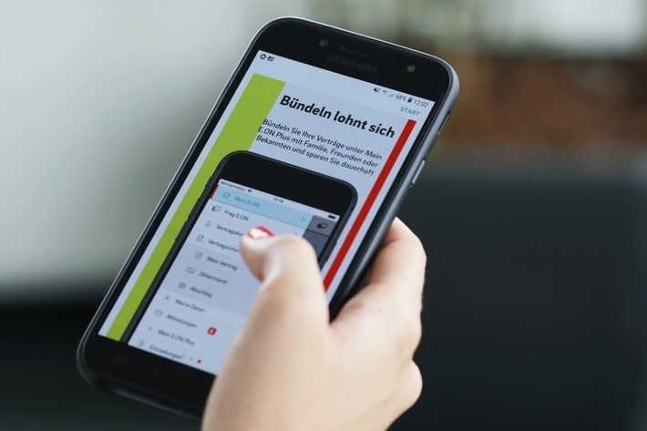 """Energieverträge bündeln ist ab sofort auch per Mein E.ON App möglich. Das Foto kann für redaktionelle Zwecke kostenfrei verwendet werden. Weiterer Text über ots und www.presseportal.de/nr/109984 / Veröffentlichung bitte unter Quellenangabe: """"obs/E.ON Energie Deutschland GmbH"""""""