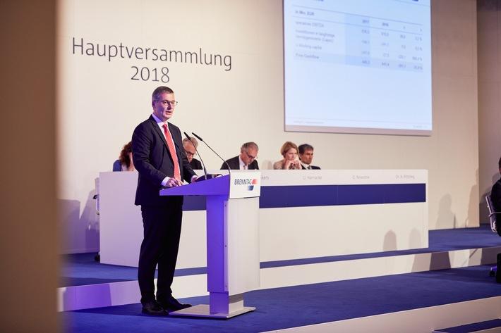 In seiner Rede berichtete Brenntag-Finanzvorstand Georg Müller den Anteilseignern über die positive Entwicklung im Geschäftsjahr 2017. (Bild: Brenntag/Gwiazda)