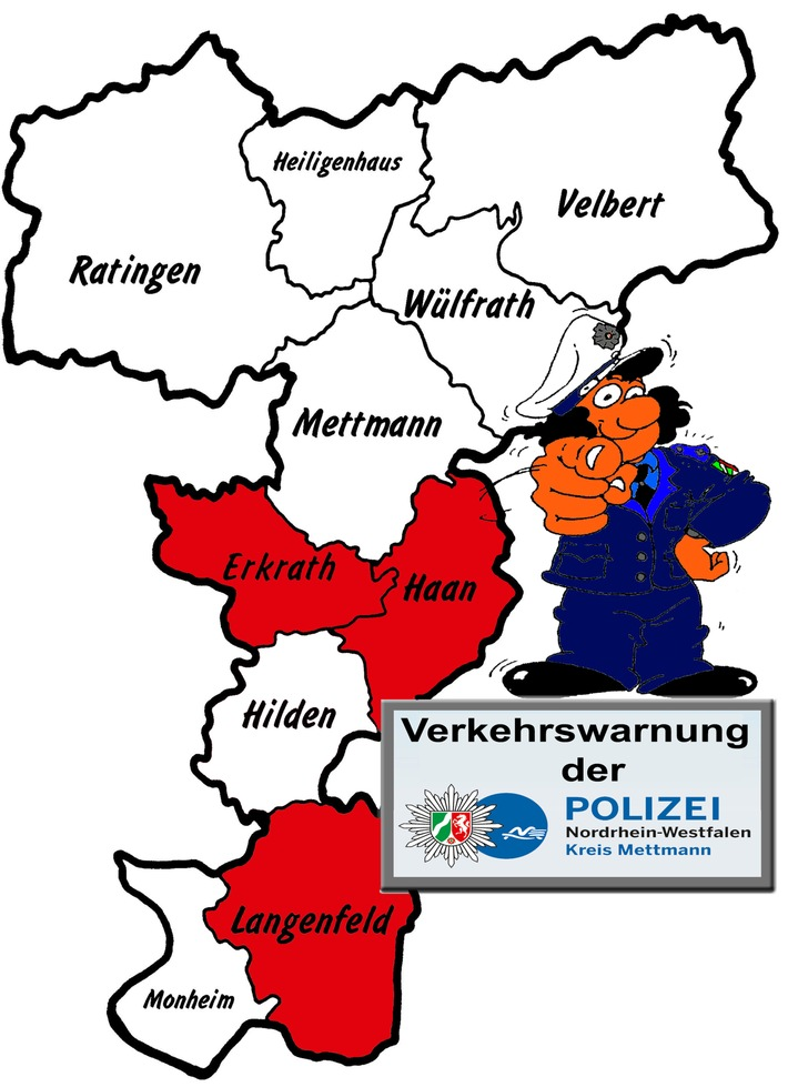 POL-ME: Wichtige Verkehrsinformationen der Polizei im Kreis Mettmann - Haan / Erkrath / Langenfeld - 1709060