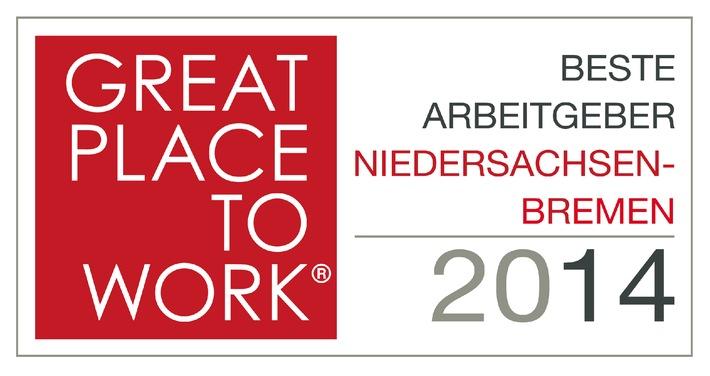Great Place to Work - Attraktive Arbeitgeber aus Niedersachsen und Bremen ausgezeichnet