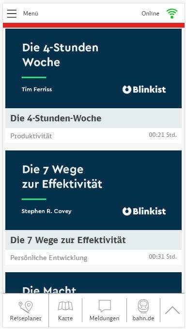 """Auf 15 Blinkist-Titel können Fahrgäste über das ICE-Portal kostenlos zugreifen. Weiterer Text über ots und www.presseportal.de/nr/131859 / Die Verwendung dieses Bildes ist für redaktionelle Zwecke honorarfrei. Veröffentlichung bitte unter Quellenangabe: """"obs/Blinkist"""""""
