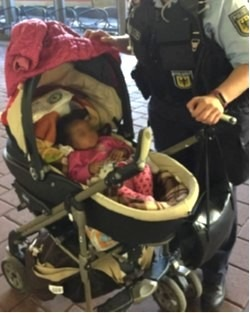 Fünf Monate alter Säugling bei der Bundespolizei in Kassel; Quelle: Bundespolizei