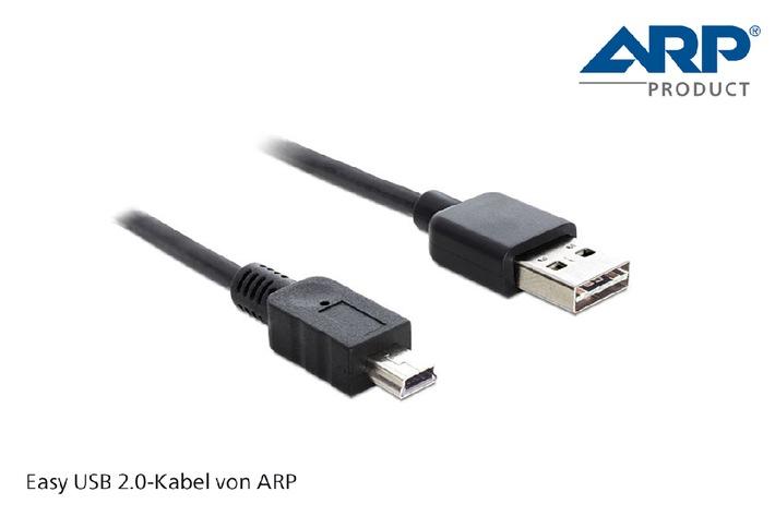 Neu im ARP Kabelsortiment: USB-Kabel mit doppelseitig verwendbaren Steckern (Bild)