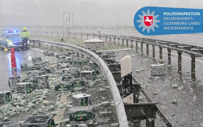 POL-DEL: Autobahnpolizei Ahlhorn: Sattelzug verunfallt im Autobahndreieck Stuhr und verliert 55 Bierkisten mit Leergut +++ Fahrzeugführer flüchtet +++ Zeugenaufruf