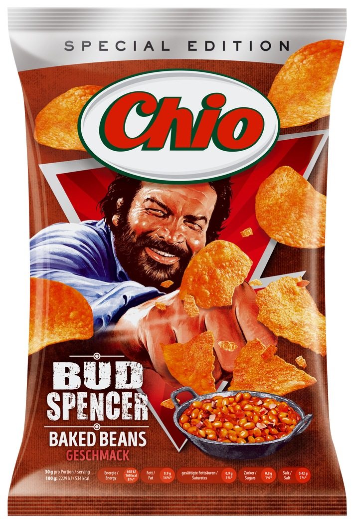"""Chio Chips Limited Edition Bud Spencer. Weiterer Text über ots und www.presseportal.de/nr/39497 / Die Verwendung dieses Bildes ist für redaktionelle Zwecke honorarfrei. Veröffentlichung bitte unter Quellenangabe: """"obs/Intersnack Knabber-Gebäck GmbH & Co. KG"""""""