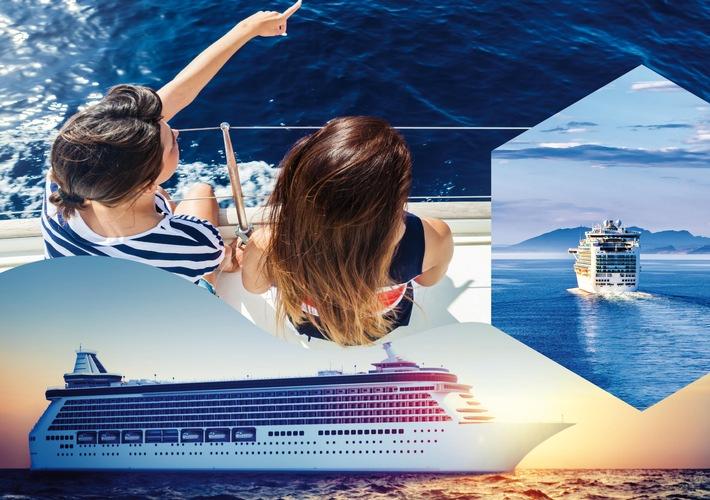 """Kreuzfahrt-Boom trifft Jugendreisen: ruf Cruises ist die erste Kreuzfahrt-Sparte für junge Leute ab 16 Jahren. Weiterer Text über ots und www.presseportal.de/nr/106634 / Die Verwendung dieses Bildes ist für redaktionelle Zwecke honorarfrei. (Fotomontage) Veröffentlichung bitte unter Quellenangabe: """"obs/ruf Reisen GmbH"""""""