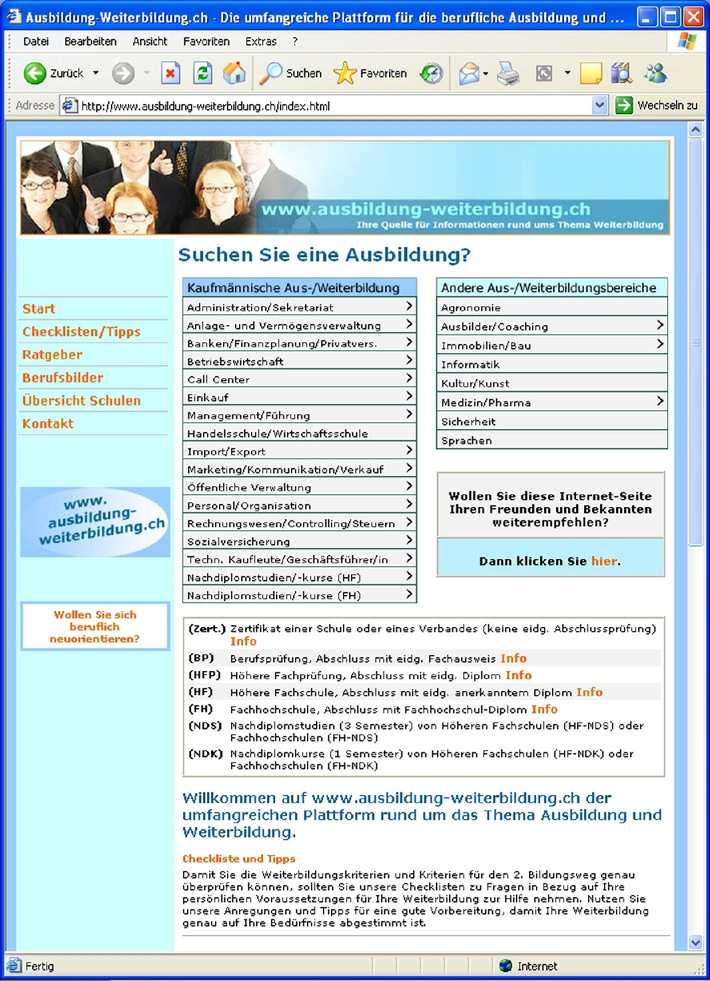 Ausbildung-Weiterbildung.ch auf Erfolgskurs