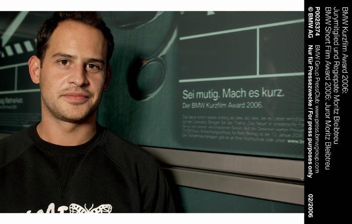 """Den Gewinnern des BMW Kurzfilm Award 2006 steht mit dem Schauspieler und Gewinner des Silbernen Bären Moritz Bleibtreu dieses Jahr ein besonders engagierter Regiepate zur Seite. Schon zum dritten Mal wurde jetzt der BMW Kurzfilm Award ausgeschrieben – nun geht er vom 14.03.2006 - 16.03.2006 in seine heiße Produktionsphase. Die Verwendung dieses Bildes ist für redaktionelle Zwecke honorarfrei. Abdruck bitte unter Quellenangabe: """"obs/BMW Group"""""""