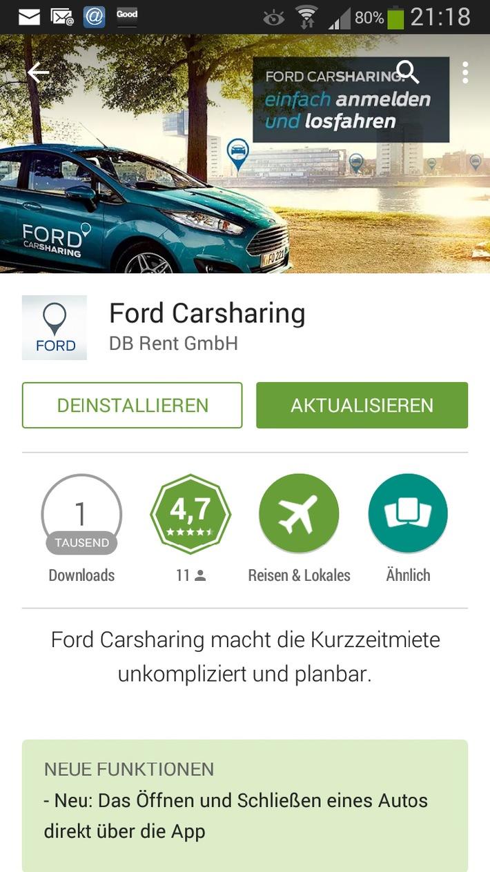 """Ford Carsharing App. Weiterer Text über OTS und www.presseportal.de/pm/6955 / Die Verwendung dieses Bildes ist für redaktionelle Zwecke honorarfrei. Veröffentlichung bitte unter Quellenangabe: """"obs/Ford-Werke GmbH"""""""