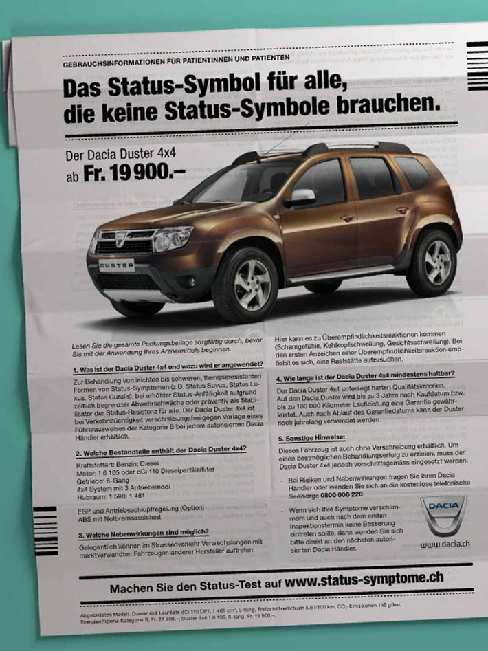 Status-Symptome - die neue Kampagne von Dacia