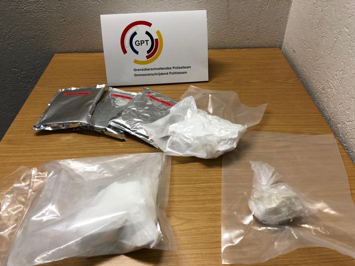 Durch das Grenzüberschreitende Polizeiteam beschlagnahmte Drogen im Wert von rund 70.000,- Euro
