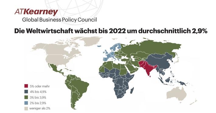 """Die Weltwirtschaft wächst bis 2022 um durchschnittlich 2,9%. Weiterer Text über ots und www.presseportal.de/nr/15196 / Die Verwendung dieses Bildes ist für redaktionelle Zwecke honorarfrei. Veröffentlichung bitte unter Quellenangabe: """"obs/A.T. Kearney"""""""
