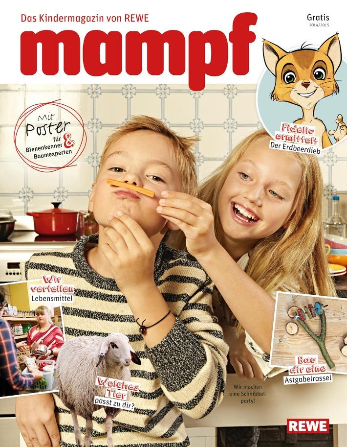 """Kindermagazin """"Mampf"""" gibt es gratis im Markt / Mit REWE raten, basteln, spielen und nachhaltige Themen entdecken"""