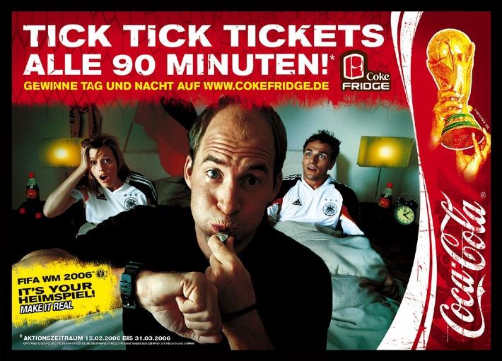 """Tick Tick Tickets: Mit Coca-Cola am 25. März um 21 Uhr zwei Tickets für das FIFA WM 2006™-Finale auf www.cokefridge.de gewinnen. Die Verwendung dieses Bildes ist für redaktionelle Zwecke honorarfrei. Abdruck bitte unter Quellenangabe: """"obs/Coca-Cola GmbH"""""""