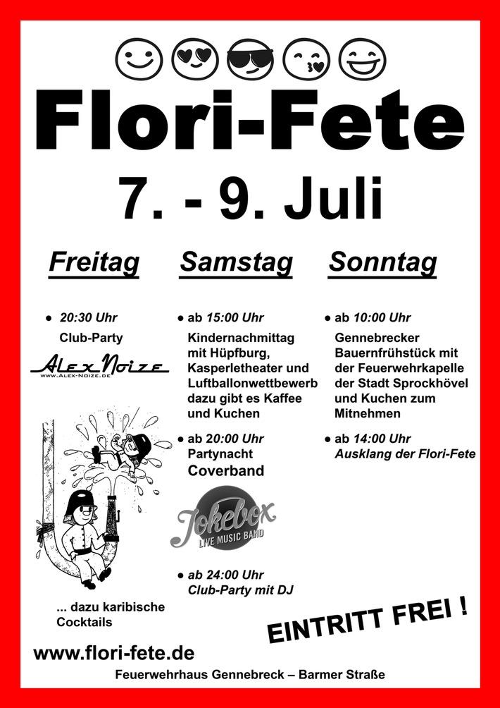 FW-EN: Die Flori-Fete startet am kommenden Freitag um 20:30 Uhr am Feuerwehrhaus in Herzkamp