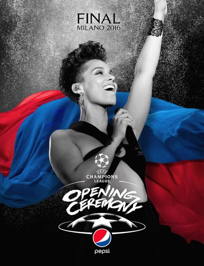 UEFA und Pepsi bringen erstmals gigantische Live-Musik zum UEFA Champions League Finale: Alicia Keys performt bei der UEFA Champions League Final-Show am 28. Mai