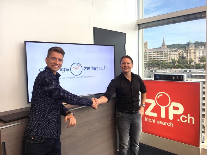 L'annuaire ZIP.ch fait l'acquisition du site d'horaires en ligne www.oeffnungszeiten.ch