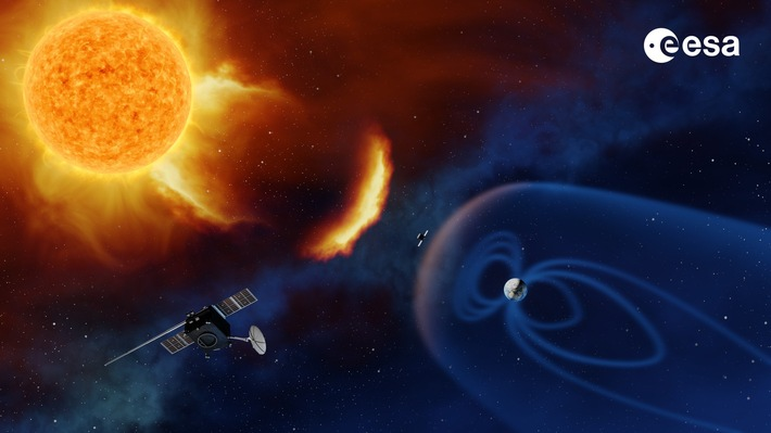 Künstlerische Darstellung einer künftigen Space Weather Mission. Quelle: https://www.esa.int/spaceinimages/Images/2017/11/Future_lagrange_mission Copyright:  ESA / A. Baker
