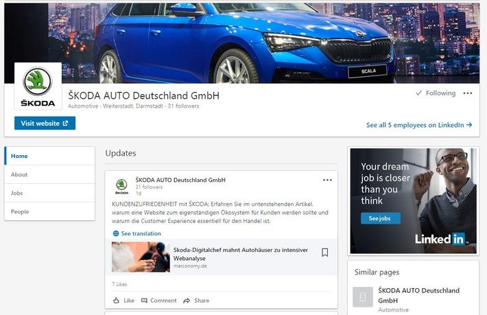 """SKODA AUTO Deutschland erweitert seine Online-Präsenz um Business-Netzwerke XING und LinkedIn / SKODA AUTO Deutschland ist jetzt auf dem Business-Netzwerk LinkedIn vertreten. Weiterer Text über ots und www.presseportal.de/nr/28249 / Die Verwendung dieses Bildes ist für redaktionelle Zwecke honorarfrei. Veröffentlichung bitte unter Quellenangabe: """"obs/Skoda Auto Deutschland GmbH"""""""