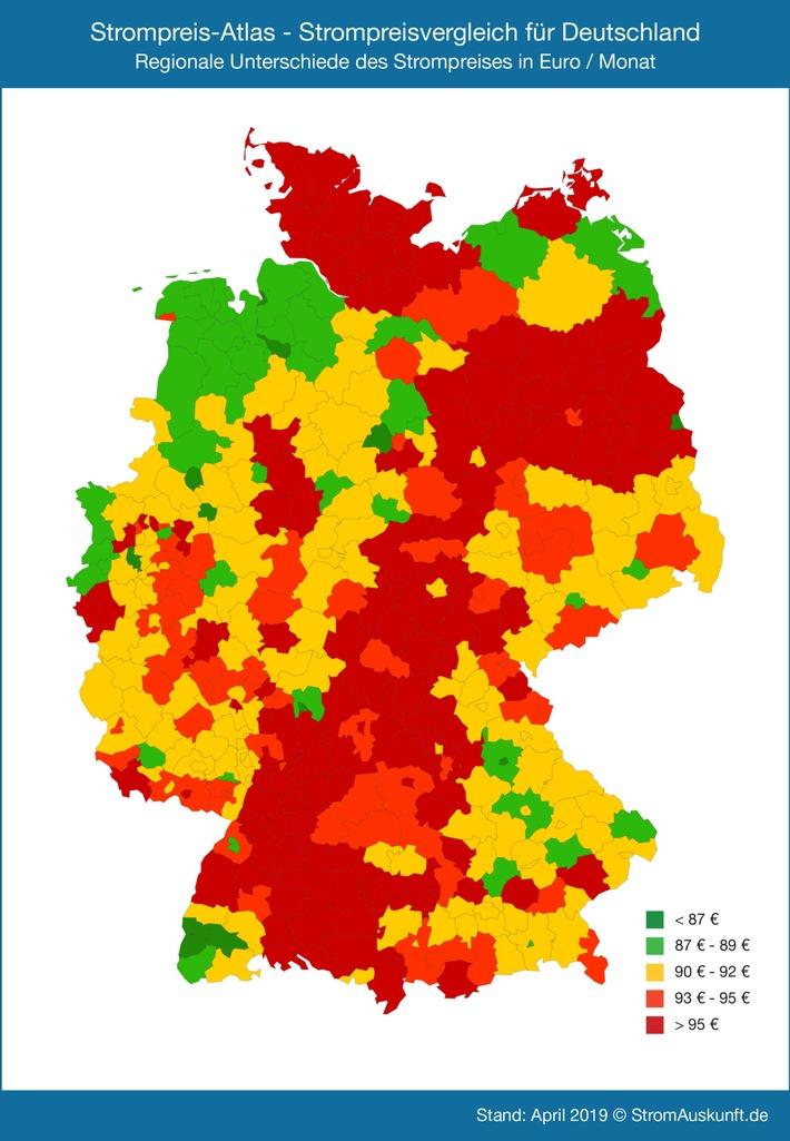 Der Strompreis - Atlas visualisiert deutschlandweit die aktuellen monatlichen Strompreise für 6400 Städte, Landkreise und kreisfreie Städte. Die Strompreise sind farblich unterschiedlich dargestellt (rot = teuer, grün = günstig), so dass die Karte auf einen Blick zeigt, wo Strom in Deutschland eher günstig oder teurer ist. Grundlage ist ein Jahresverbrauch von 3500 kWh.  Die Verwendung dieses Bildes ist für redaktionelle Zwecke honorarfrei. Veröffentlichung bitte unter Quellenangabe: 'obs/Stromauskunft.de/StromAuskunft.de / Heidjann GmbH' Weiterer Text über ots und www.presseportal.de/nr/58601 / Die Verwendung dieses Bildes ist für redaktionelle Zwecke honorarfrei. Veröffentlichung bitte unter Quellenangabe: 'obs/Stromauskunft.de/StromAuskunft.de / Heidjann GmbH'