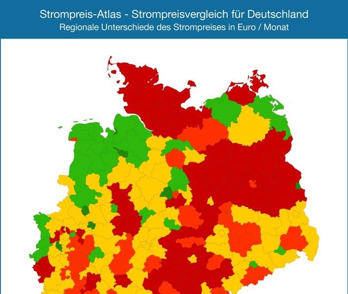 """Der Strompreis - Atlas visualisiert deutschlandweit die aktuellen monatlichen Strompreise für 6400 Städte, Landkreise und kreisfreie Städte. Die Strompreise sind farblich unterschiedlich dargestellt (rot = teuer, grün = günstig), so dass die Karte auf einen Blick zeigt, wo Strom in Deutschland eher günstig oder teurer ist. Grundlage ist ein Jahresverbrauch von 3500 kWh. Die Verwendung dieses Bildes ist für redaktionelle Zwecke honorarfrei. Veröffentlichung bitte unter Quellenangabe: """"obs/Stromauskunft.de/StromAuskunft.de / Heidjann GmbH"""" Weiterer Text über ots und www.presseportal.de/nr/58601 / Die Verwendung dieses Bildes ist für redaktionelle Zwecke honorarfrei. Veröffentlichung bitte unter Quellenangabe: """"obs/Stromauskunft.de/StromAuskunft.de / Heidjann GmbH"""""""