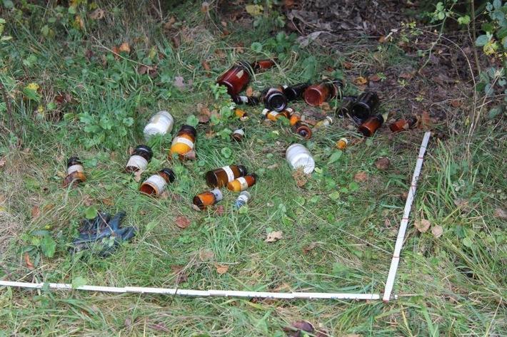 Bild der aufgefundenen Flaschen in Pohlheim / Dorf-Güll