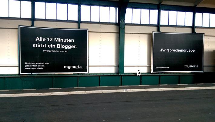 Alle 12 Minuten stirbt ein Blogger - Mymoria plakatiert zielgruppenorientiert vor der Digital-Konferenz Republica
