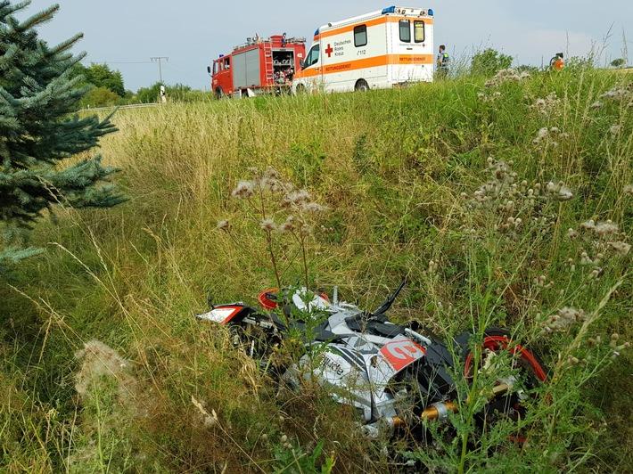 Verkehrsunfall mit schwerverletztem Motorradfahrer