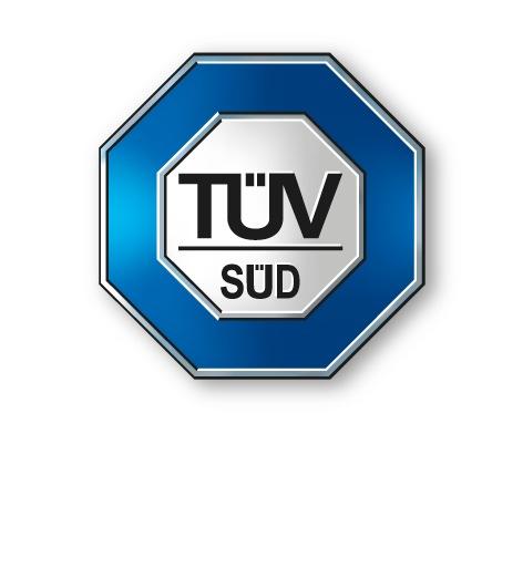"""Firmen-Logo Weiterer Text über ots und www.presseportal.de/nr/38406 / Die Verwendung dieses Bildes ist für redaktionelle Zwecke honorarfrei. Veröffentlichung bitte unter Quellenangabe: """"obs/TÜV SÜD AG"""""""